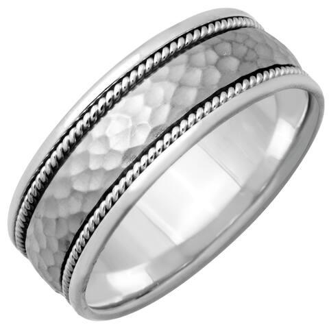 14k White Gold Hammered Rope Design Comfort Fit Women's Wedding Bands