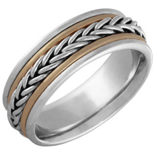 14k Two-tone Gold Handmade Comfort-fit Wedding Band