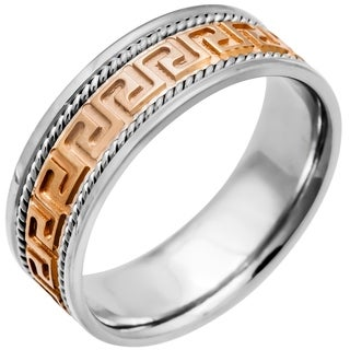 14k Two-tone Gold Handmade Greek Key Comfort-fit Wedding Band