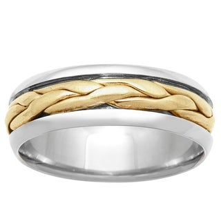 14k Two-tone Gold Handmade Braided Comfort-fit Satin Wedding Band