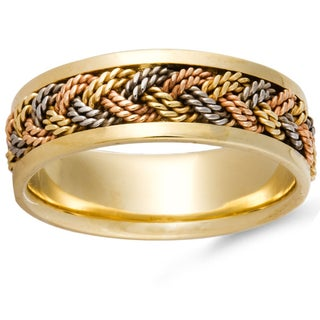 14k Tri-color Gold Handmade Woven Comfort-fit Wedding Band (More options available)