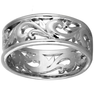 14k White Gold Women's Comfort Fit Vine Wedding Band