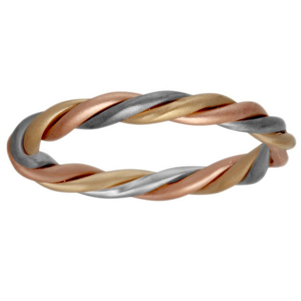 14k Tri Color Gold Women S Twisted Wedding Band Free