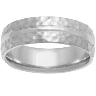14k White Gold Women's Comfort Fit Hammered Wedding Band