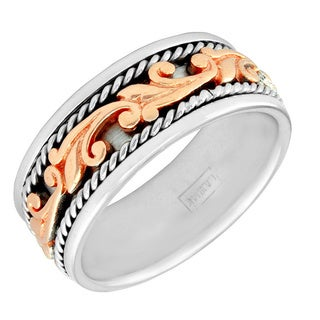 14k Two-tone Gold Women's Comfort Fit Handmade Floral Wedding Band