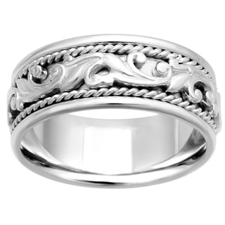 14k White Gold Women's Comfort Fit Handmade Leaf Wedding Band