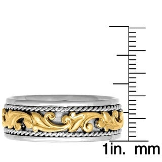 14k Two-tone Gold Women's Comfort Fit Handmade Floral Rope Wedding Band