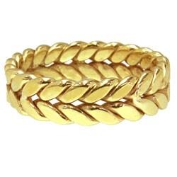 14k Yellow Gold Women's Comfort Fit Handmade Rope Wedding Band