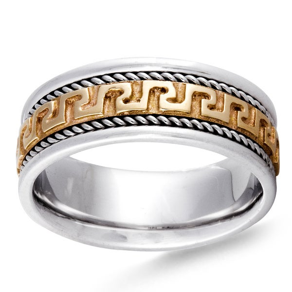 14k two tone gold womens comfort fit handmade greek design wedding band