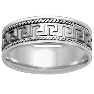 14k White Gold Women's Comfort Fit Handmade Grecian-style Wedding Band