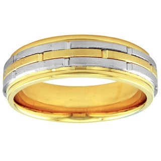 14k Two-tone Gold Women's Comfort Fit Handmade Staggered Wedding Band