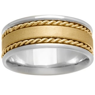 14k Two-tone Gold Women's Comfort Fit Handmade Dual Rope Wedding Band