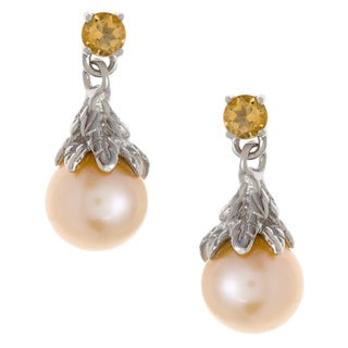 Kabella Sterling Silver Orange FW Pearl and Citrine Earrings (6.9 mm)