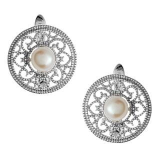 Kabella Sterling Silver Pink FW Pearl Mosaic Earrings (6-6.5 mm)