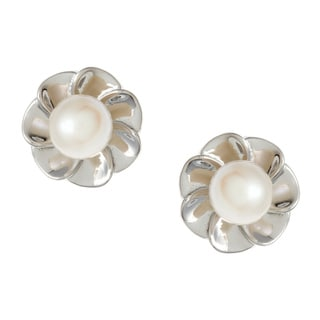 Kabella Sterling Silver White Freshwater Pearl Flower Earrings (6-6.5 mm)