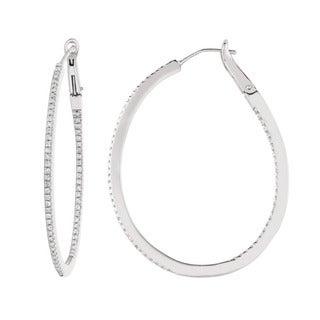 Sterling Silver 1/2ct TDW Diamond Oval Hoop Earrings (G-H, I1)