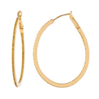 Gold over Silver 5/8ct TDW Yellow Diamond Hoop Earrings