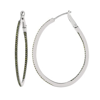 Sterling Silver 5/8ct TDW Green Diamond Oval Hoop Earrings