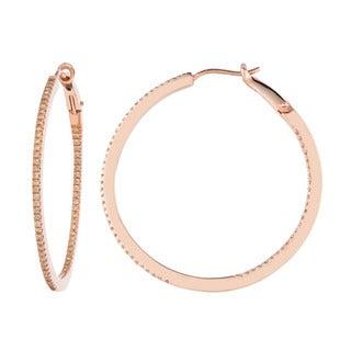 Rosetone Silver 5/8ct TDW Brown Diamond Round Hoop Earrings