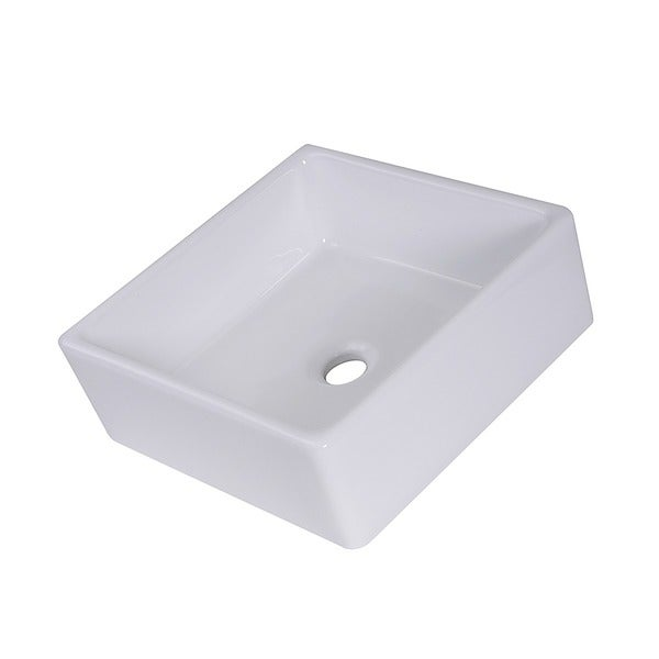Highpoint Collection 15 Inch Square Ceramic White Bathroom Vessel Sink    Free Shipping Today   Overstock.com   15644394