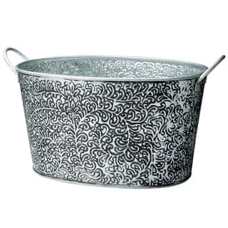 Antiqued 'Vine Relief' Oval Metal Party Tub|https://ak1.ostkcdn.com/images/products/8332124/Antiqued-Vine-Relief-Oval-Metal-Party-Tub-P15644425.jpg?impolicy=medium