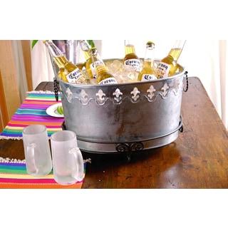 Galvaniz 'Fleur de Lis' Oval Metal Party Tub