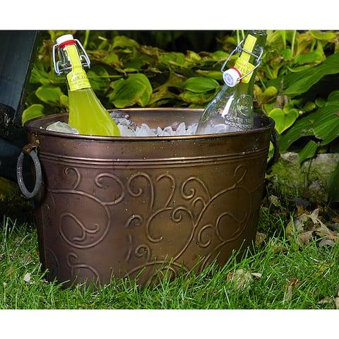 Antiqued 'Vine' Oval Metal Party Tub