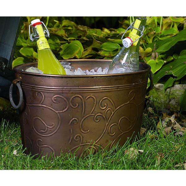 Antiqued 39 vine 39 oval metal party tub free shipping on for Oval garden tub