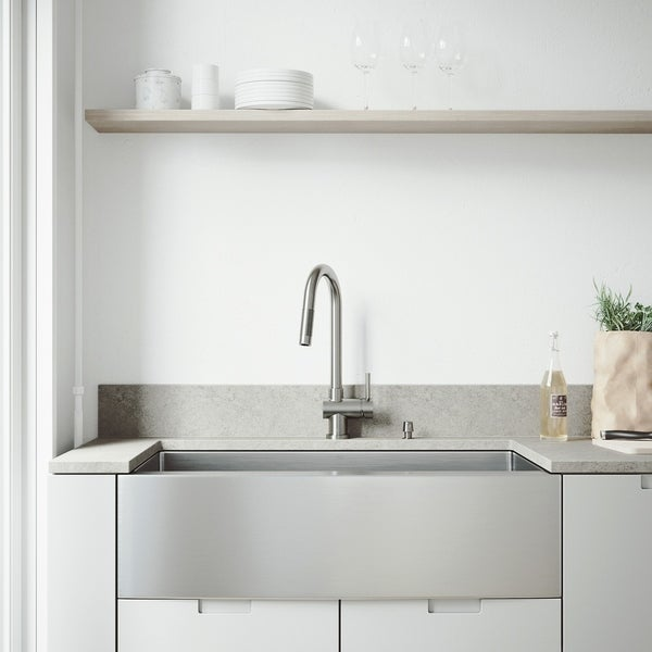 VIGO Bedford Stainless Steel Kitchen Sink and Gramercy Faucet Set