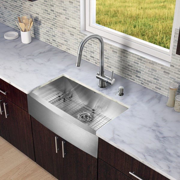 VIGO All-in-One 30-inch Stainless Steel Farmhouse Kitchen Sink and Gramercy Stainless Steel Faucet Set