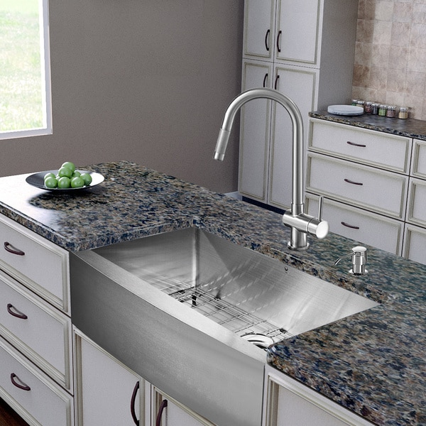 Farmhouse Stainless Steel Kitchen Sink : ... -in-one 30-inch Farmhouse Stainless Steel Kitchen Sink and Faucet Set
