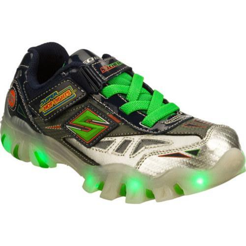latest fashion good out x buy popular Boys' Skechers Super Hot Lights Street Lightz Halt Navy/Green