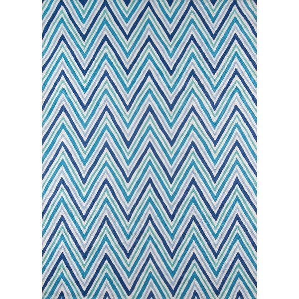 Chevron Blue Hand Hooked Rug 5 X 7 Free Shipping