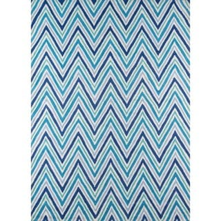 "Chevron Blue Hand-hooked Rug (7'6"" x 9'6"")"