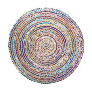 Celebration Jute Multi Chindi Braid Hand-woven Rug (4' Round)