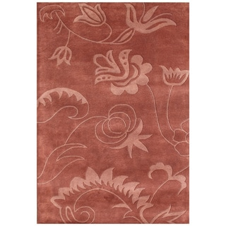 Handmade Faded Rose New Zeeland Blend Wool Area Rug (5' x 8')