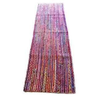 Celebration Jute Multi Chindi Braid Hand-woven Runner Rug (2'6 x 8')