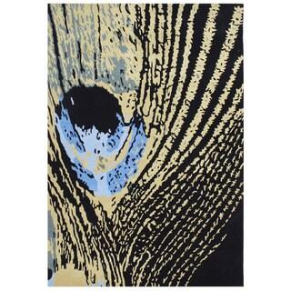Handmade Black New Zeeland Blend Wool Area Rug (5' x 8')