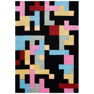 Handmade Black Abstract New Zealand Blend Wool Area Rug (5' x 8')