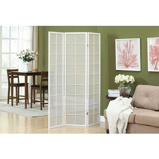 White Framed 3-Panel Folding Screen with Fabric Inlay
