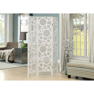 White Framed 3-Panel Folding Screen with Bubble Design