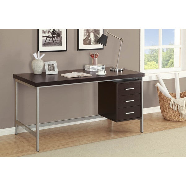 Cappuccino and Silver Metal 60-inch Office Desk
