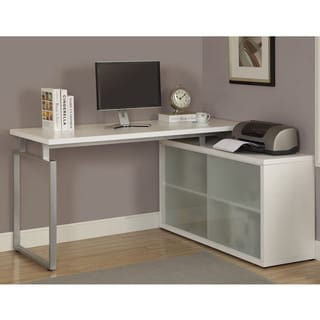 White L Shaped Desk With Frosted Glass
