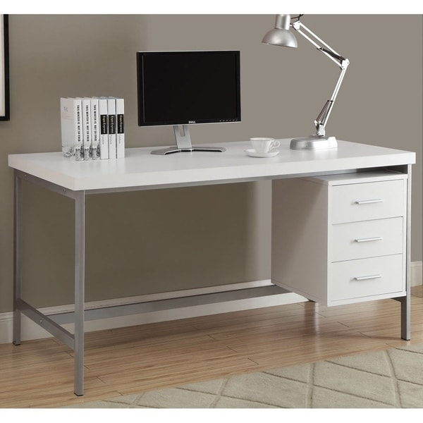Pleasant White And Silver Metal 60 Inch Office Desk Download Free Architecture Designs Pushbritishbridgeorg