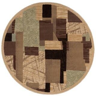 Nourison Modesto Abstract-pattern Beige Rug (5'3'' Round)
