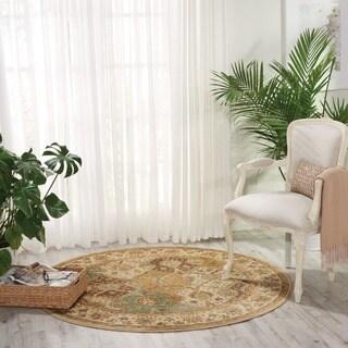 Nourison Modesto Oriental-pattern Beige Rug (5'3'' Round)