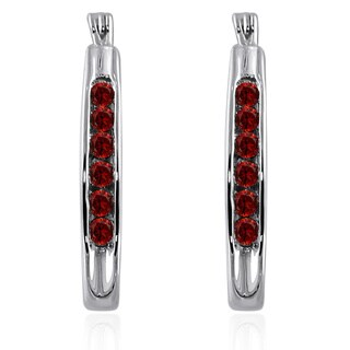 Sterling Silver 1/2ct TDW Red Diamond Oval Hoop Earring