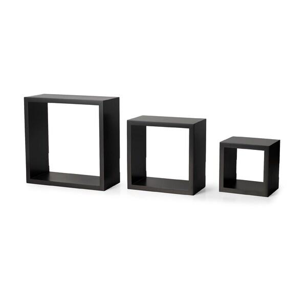 Melannco Espresso Square Shelves Set (Set of 3)