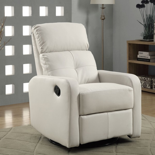 Shop White Bonded Leather Glider Recliner Free Shipping
