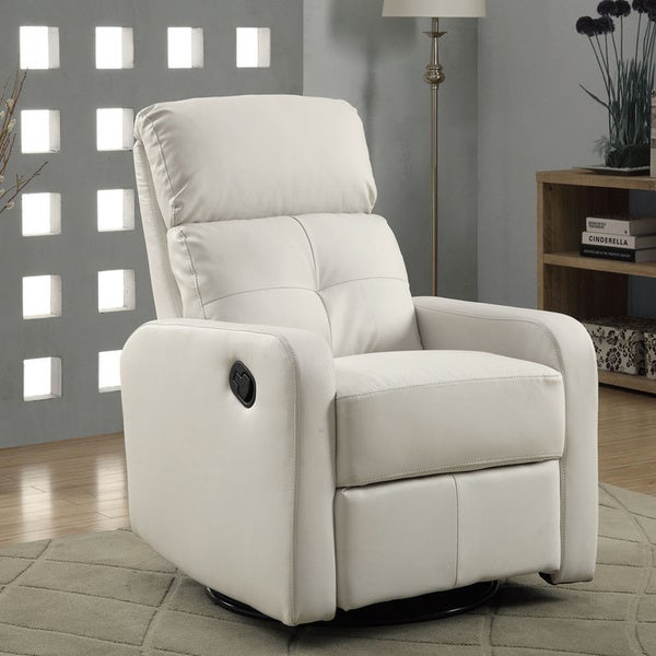 White Bonded Leather Glider Recliner